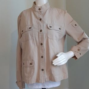 Style & Co. Canvas like button front jacket l.